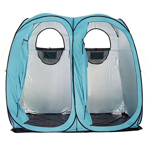 Shower Outhouse - Quictent 2019 Upgraded Oversize 2 Room Pop Up Automatic Rod Bracket Shower Tent/Changing/Toilet Room Camping Privacy Shelter Camping Outdoor Waterproof Anti-UV with Carry Bag