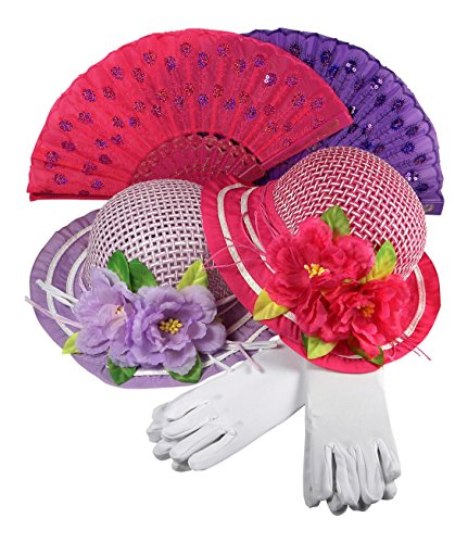Girls Tea Party Hats Dress Up Play Set For 2 with Sun Hats Gloves Hand Sequined Fans by Butterfly Twinkles - Purple, Bright Pink (Tea Apparel)