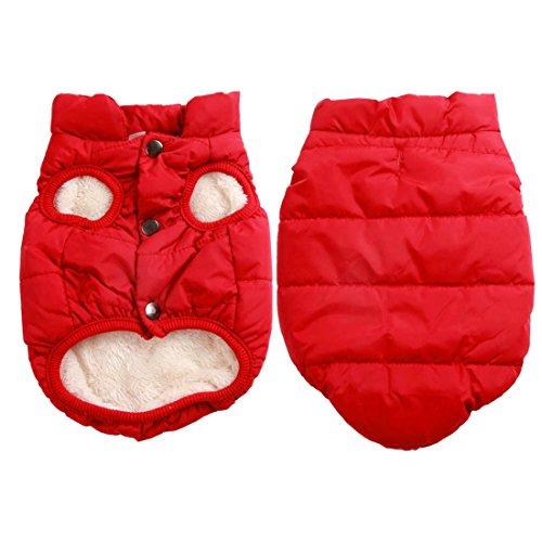 JoyDaog 2 Layers Fleece Lined Warm Dog Jacket for Winter Cold Weather,Soft Windproof Medium Dog Coat, Red L