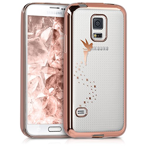kwmobile Crystal TPU Case for Samsung Galaxy S5 Mini G800 - Soft Flexible Transparent Silicone Protective Cover - Copper/Transparent (Samsung Galaxy S5 Mini Tough Case)