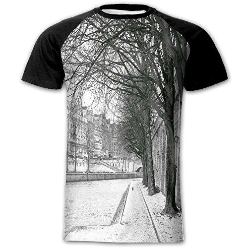 Newfood Ss Seine River Paris France Snowy Winter in Urban City Trees Men's Short Sleeve Raglan T L -