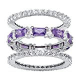 Seta Jewelry White Cubic Zirconia and Simulated Amethyst Platinum-Plated 3-Piece Eternity Stackable Ring Set