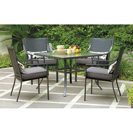 Mainstays Alexandra Square 5-Piece Patio Dining Set, Grey with Leaves, Seats 4 Review