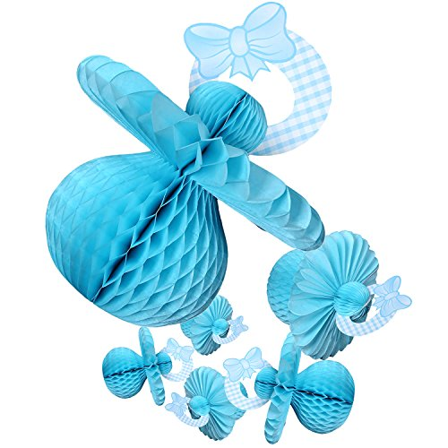 Baby Shower Decorations - 6 Pieces Boy Theme Pacifier Baby Shower Table Centerpieces Hanging Decor Party Supplies, Blue (Baby Shower Cheap Decorations)