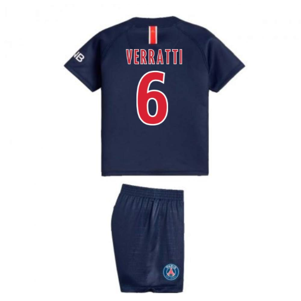 UKSoccershop 2018-2019 PSG Home Nike Baby Kit (Marco Verratti 6)