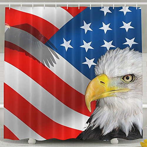 BINGO FLAG Funny Fabric Shower Curtain Happy Memorial Day Waterproof Bathroom Decor With Hooks 60 X 72 Inch by BINGO FLAG