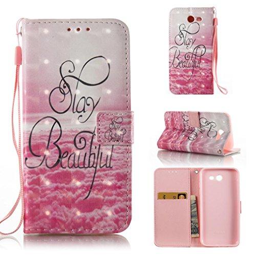 Galaxy J3 Emerge Case,Galaxy J3 Eclipse Case,J3 Mission Case,J3 Prime Case,Galaxy Express Prime 2 Case,FlREFlSH Wrist Strap Detachable Wallet Case for Samsung Galaxy J3 2017-Beautiful