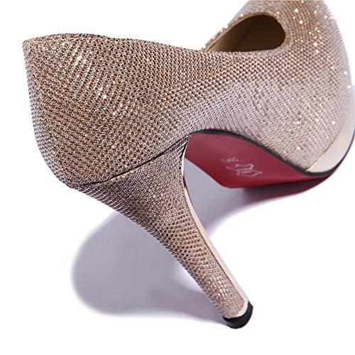 Urethane Dress Womens BalaMasa Platform Studded Pumps Gold Shoes APL10799 OxzOqfw
