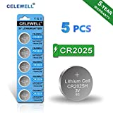 【5-Year Warranty】 CELEWELL CR2025 Battery Special for FOB Remote High Capacity 170mAh 3V Lithium Coin Button Cell 5 Count