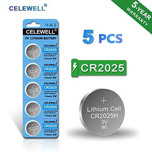 CR2025 Battery Special for FOB Remote High Capacity 170mAh 3V Lithium Coin Button Cell 5 Count CELEWELL Brand 5 Years Warranty