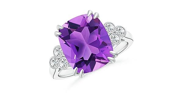 Angara Solitaire Double Claw Citrine Trinity Ring with Diamond in Platinum HzRbTfMWB