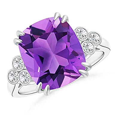 Angara Solitaire Double Claw Amethyst Diamond Trinity Ring in Platinum AbVig6
