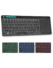 Rii K18 Plus trådlöst TV-tangentbord med pekplatta, belyst tangentbord med 3 LED-bakgrundsbelysning för smart TV/laptop/Mac/PC/Android/Windows (tysk layout, svart)