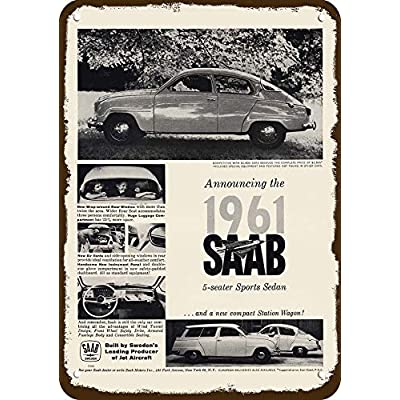 "1961 Saab Car & Compact Station Wagon Car Vintage-Look Replica Metal Sign 7"" x 10"" Cuisine & Maison"