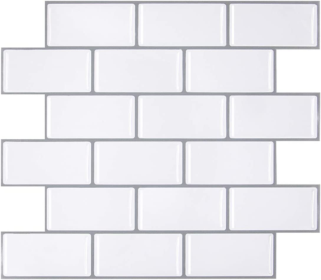 - Amazon.com: VIVID TREE Subway Stick Tiles White With Grey Grout