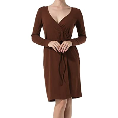 GRMO Women's V-Neck Wrap Belted Solid Long Sleeve Party Midi Dress