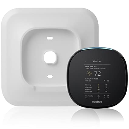 Silver Sophisticated Aluminum-Alloy Metal Wall Plate for ECOBEE 4 Smart Wi-Fi Thermostat by Wasserstein