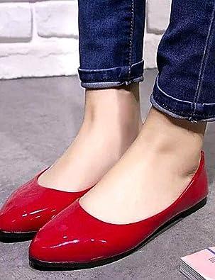 DFGBDFG PDX/Damen Schuhe Libo New Style Hot Sale flach Heel Comfort Wohnungen Office & Karriere/Casual Schwarz/Rot/Weiß/Gelb, red-us6/eu36/uk4/cn36 - Größe: One Size