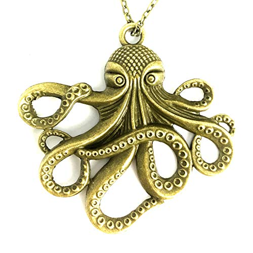 UMBRELLALABORATORY Steampunk Octopus Necklace | Victorian Style, Gold Finish Handmade Pirate Accessory]()