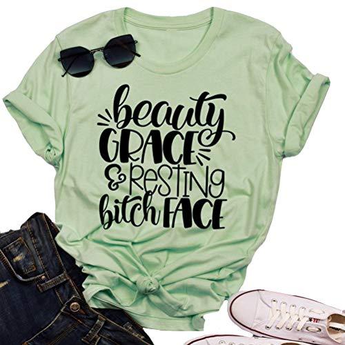 YourTops Women Beauty Grace & Resting Bitch FACE T-Shirt Graphic Shirt (Best Resting Bitch Face)