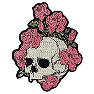 EMDOMO - Parches Bordados con diseño de Calavera de Rosa para Coser en la Chaqueta, Insignias para la Parte Trasera de la Chaqueta, Apliques de decoración, Pegatinas, para Planchar, 1 Pieza