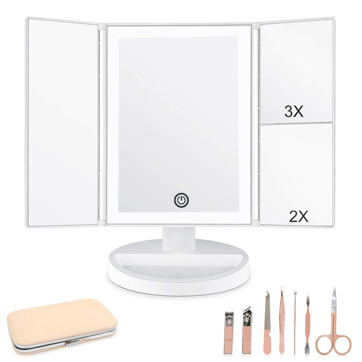 CZW Makeup Vanity Mirror with 3x/2x Magnification, Trifold Mirror with LED Lights, Touch Screen, 180° Adjustable Rotation, Dual Power Supply, White Countertop Cosmetic Mirror with 7Pcs Manicure Set