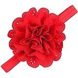 Mesh Flower Eyelet Baby Girls Elastic Red Headband Kids Head Accessories Hairband Princess Hair Band