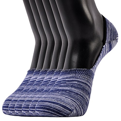 Sox Thin - Areke Mens Cotton Thin Mesh No Show Socks Low Cut Non Slip Invisible Boat Liner Casual Sox 6 to 10 Pack Color Navy-White 6Pack Size US Shoe Size 6-11