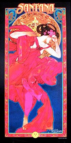 (SIGNED Santana Poster Original Lithograph 2001 Fan Club Commission Hand-Signed by Illustrator Bob Masse COA)