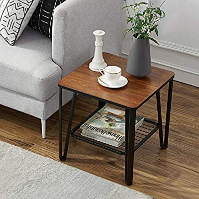 Vecelo Industrial End Side Sofa Table Night Stand With Metal Storage Shelf Living Room Furniture Easy Assembly Brown Amazon Sg Home