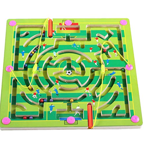 DIGOOD Kid Childs Magnetic Maze Toys Wooden Educatioal Game Puzzle Jigsaw Board for 4-7 Years (B)