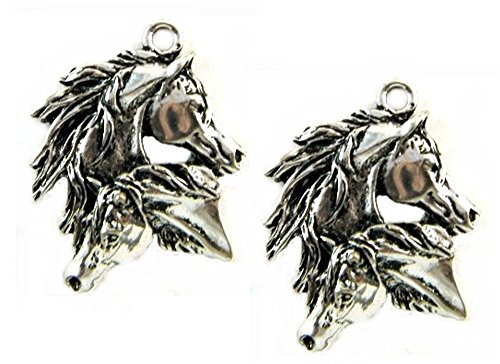 Mustang Charm - Two Mustang Horses Pendant Charm EDL-PS3