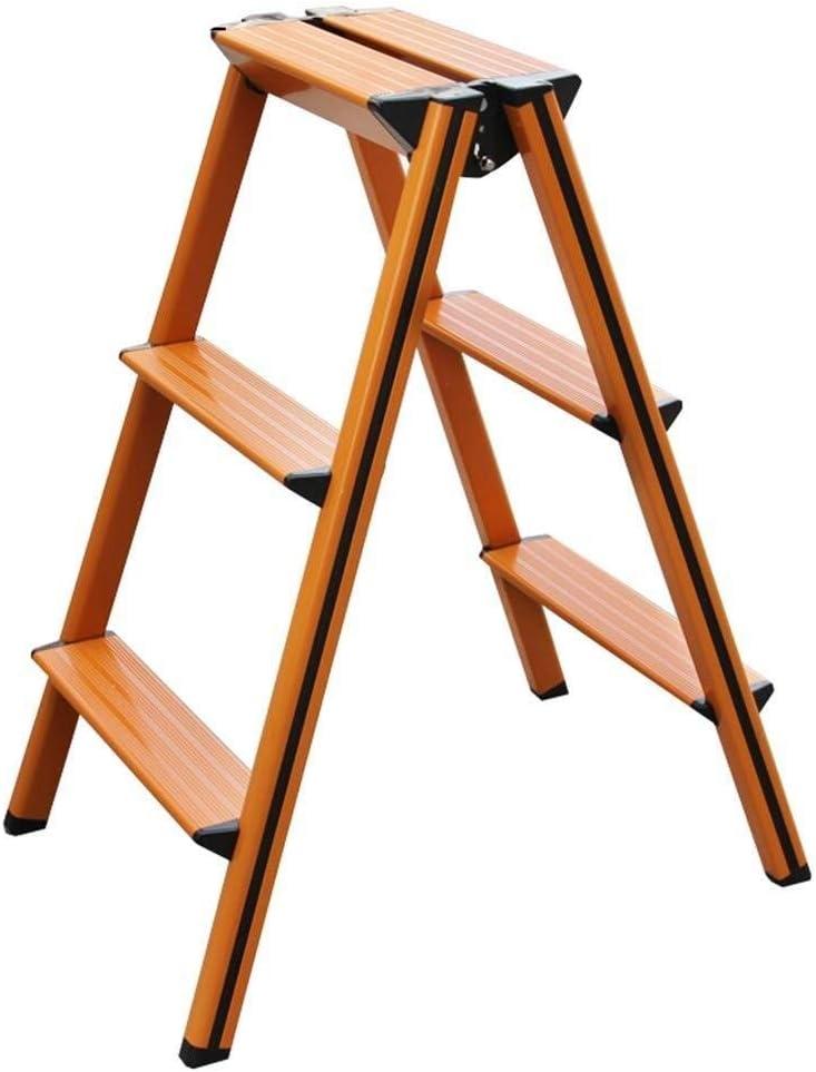 Taburete Escalera 3-Taburete de Paso de Escalera de Doble Cara Escalera Plegable Plegable A-Tipo de Hogar de Aluminio 150 kg de Soporte de Carga (Color : Orange): Amazon.es: Hogar