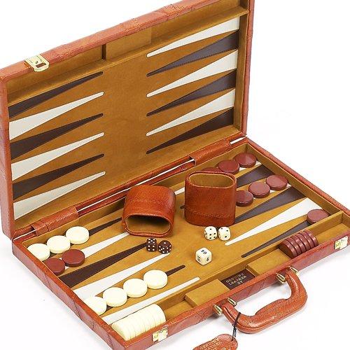 (Madison Avenue Genuine Leather Backgammon Set)