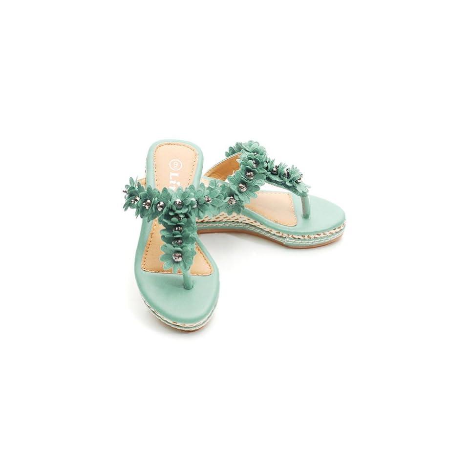Toddler Little Girls Size 10T Lt Blue Flower T Strap Wedge Sandal Shoe Forever Link Shoes
