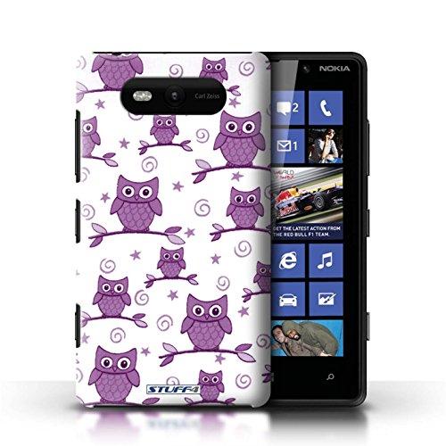 Etui / Coque pour Nokia Lumia 820 / Violet/Blanc conception / Collection de Motif Hibou