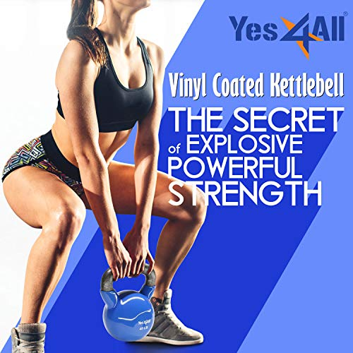 Yes4All Vinyl Coated Kettlebell Weights Set - Great for Full Body Workout and Strength Training - Vinyl Kettlebell 5 lbs
