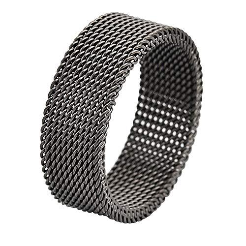 (Geoffrey Beene Stainless Steel Men's Comfort Fit Mesh Ring, Gunmetal)