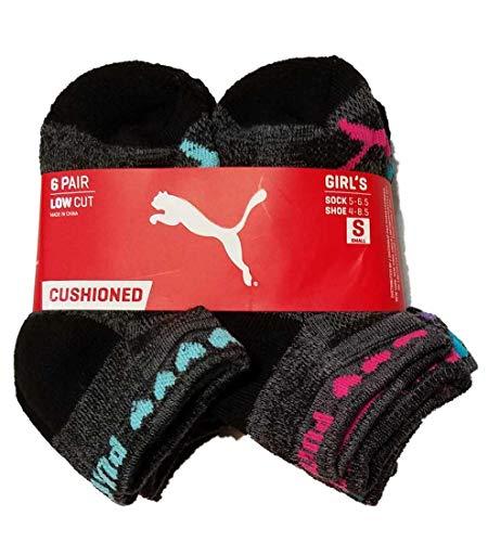 PUMA Little Girls 6pk Cushioned Low Cut Athletic Socks (Black Hearts, Small (Sock: 5-6.5, Shoe:4-8.5)