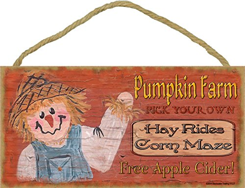 Blackwater Trading Pumpkin Farm Scarecrow Halloween Fall Sign Plaque Decor 5