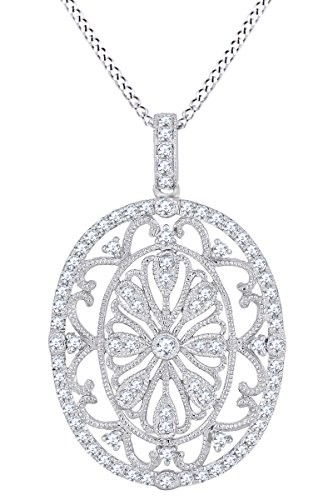 (Round White Natural Diamond Vintage Style Pendant Necklace 14k Two Tone Solid White Gold (0.59 Cttw))