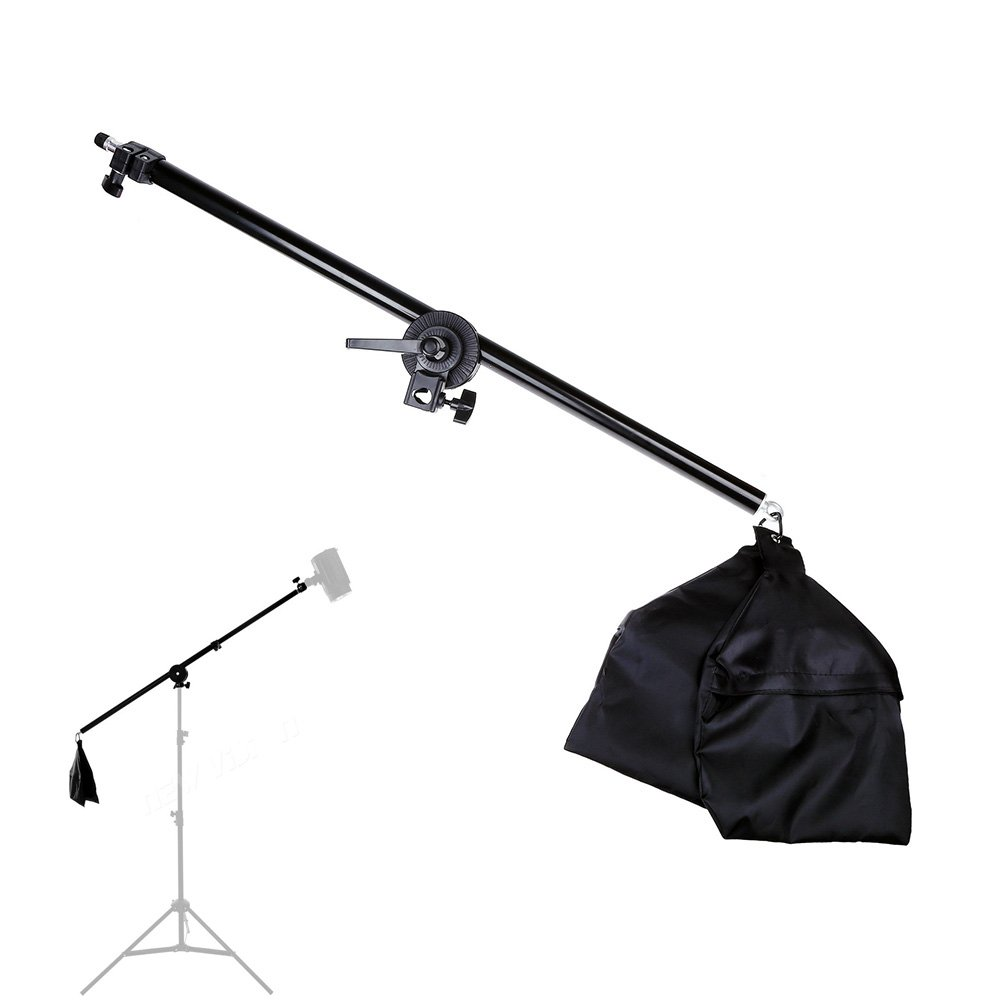 Lightdow 2.5ft to 4.5ft Adjustable Overhead Light Boom Arm with Swivel Tripod Clamp & Counter-weight Bag (Model Number: LD-DP025)