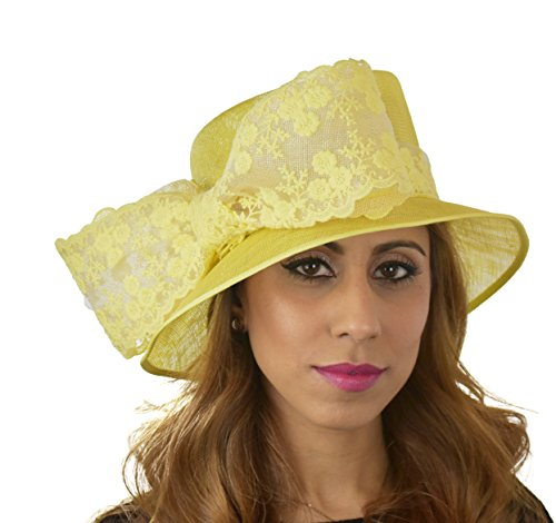 Hats By Cressida Ladies Kentucky Derby Ascot Wedding Fascinator Hat Lace Bow Yellow by Hats By Cressida