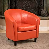 small leather club chair Christopher Knight Home 213807 Napoli Bonded Leather Club Chair, Orange