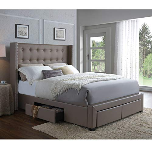 (DG Casa 3850-K-WNT Savoy Tufted Upholstered Wingback Panel Storage Bed Frame, King Size in Walnut Faux Leather)