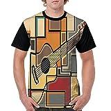 Puppylol Funky Guitar Fractal Geometric Shaped Men's Comfort Raglan Short Sleeve Baseball Tees