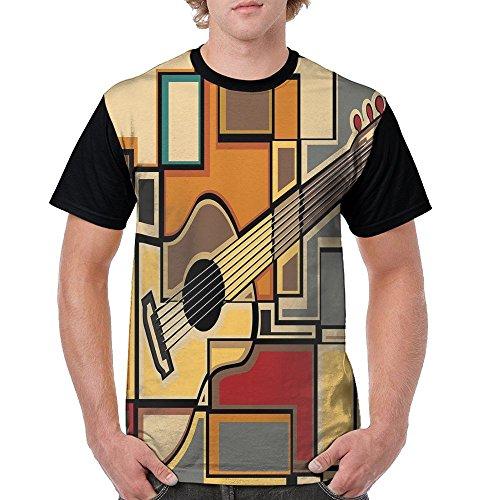 Puppylol Funky Guitar Fractal Geometric Shaped Men's Comfort Raglan Short Sleeve Baseball Tees M