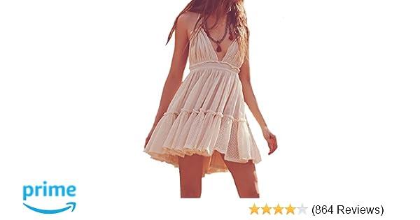 416ecb73dfbc4 R.Vivimos Womens Summer Halter Deep V Neck Sexy Patchwork Mini Short Dresses