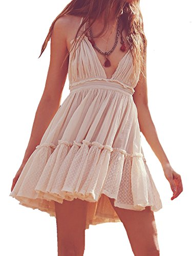 (R.Vivimos Womens Summer Halter Deep V Neck Sexy Patchwork Mini Short Dresses Large Beige)
