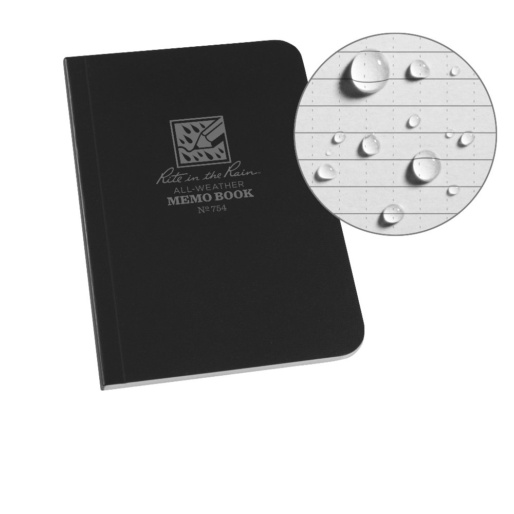 "J.L. Darling Rite in The Rain Weatherproof Soft Cover Pocket Notebook, 3 1/2"" x 5"", Black Cover, Universal Pattern (No. 754)"